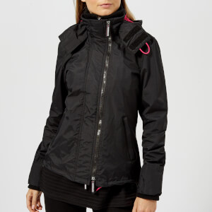 Superdry Women's Tech Hooded Pop Zip Windcheater - Black/Raspberry