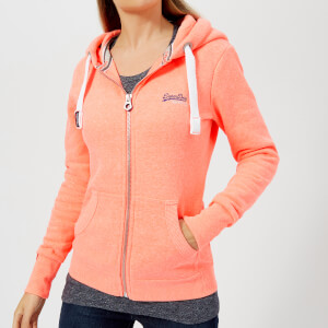 Superdry Women's Orange Label Primary Zip Hoody - Racing Coral Snowy