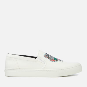 KENZO Men's Canvas Tiger Slip On Trainers - White