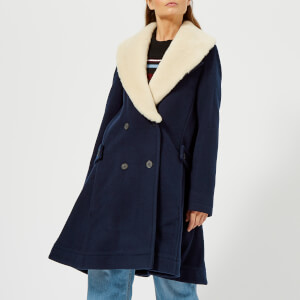 JW Anderson Women's Swing Coat with Shearling Collar - Navy