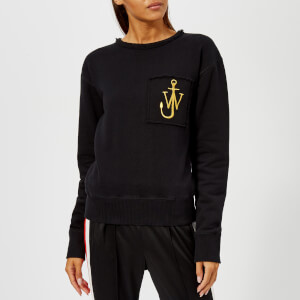 JW Anderson Women's Raw Edge Logo Sweatshirt with Pocket Detail - Washed Black