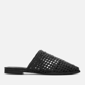 Sol Sana Women's Woven Kim Leather Flat Mules - Black