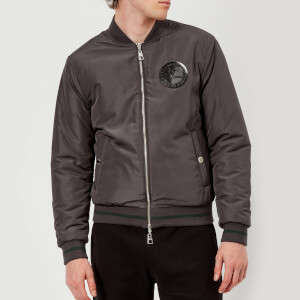Versace Collection Men's Chest Logo Bomber Jacket - Grey