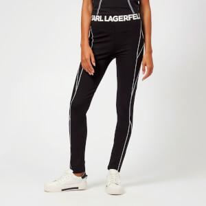 Karl Lagerfeld Women's Punto Leggings with Logo - Black