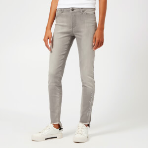 Karl Lagerfeld Women's Skinny Denim Jeans with Fringed Hem - Grey