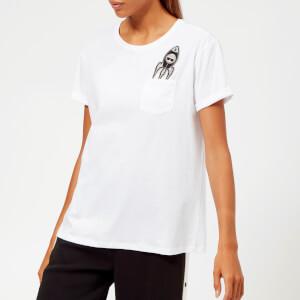Karl Lagerfeld Women's Space Karl Pocket T-Shirt - White