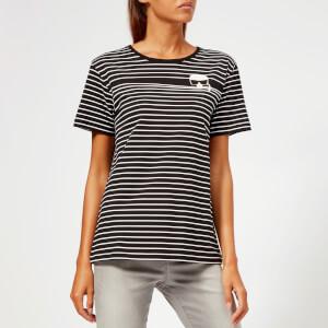 Karl Lagerfeld Women's K/Ikonik Stripe T-Shirt - Black/White