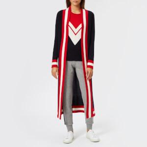 Madeleine Thompson Women's Calypso Long Cardigan - Navy W/Cream/Red