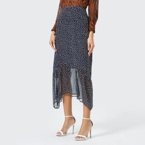 RIXO Women's Leandra Midi Skirt With Dropped Hem - Blue
