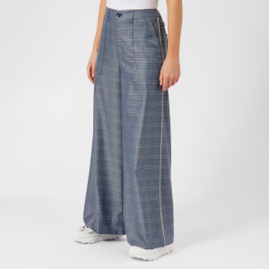 Ganni Women's Merkel Wide Leg Trousers - Serenity Blue