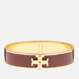 Tory Burch Women's Raised Logo Enamel Hinged Bracelet - Tuscan Wine/Gold