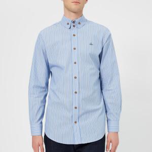 Vivienne Westwood Men's Monti Stripes 2 Button Krall Shirt - Light Blue/Brown Stripes