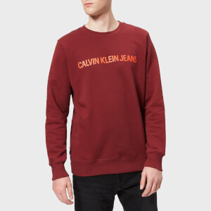 Calvin Klein Jeans Men's Institutional Logo Regular Crew Neck Sweatshirt - Tawny Port