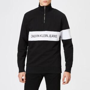Calvin Klein Jeans Men's Stripe Institutional Logo Half Zip Sweatshirt - CK Black