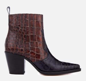 Ganni Women's Callie Western Heeled Boots - Ganache