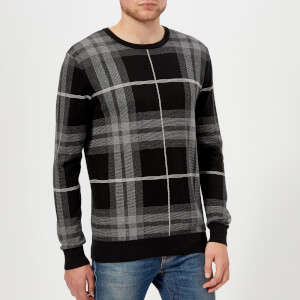Barbour Men's Tartan Jacquard Crew Knitted Jumper - Graphite