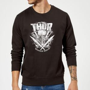 Marvel Thor Ragnarok Thor Hammer Logo Sweatshirt - Black