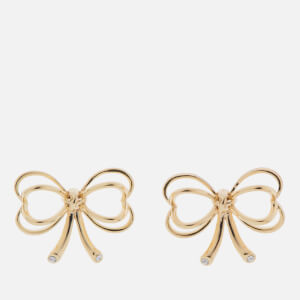 Ted Baker Women's Lakia: Small Heart Bow Stud Earrings - Pale Gold/Crystal
