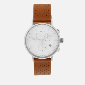 Timex Men's Fairfield Chronograph Leather Strap Watch - Silver-Tone/Tan/White