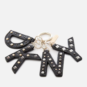 DKNY Women's Leather Key Fob with Studs - Black/Gold