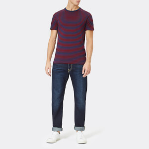 Polo Ralph Lauren Men's Basic Stripe Crew Neck Short Sleeve T-Shirt - Newport Navy/Classic Wine: Image 3