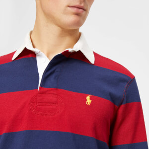 Polo Ralph Lauren Men's Stripe Long Sleeve Rugby Shirt - Eaton Red/Newport Navy: Image 4