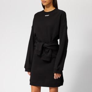 MSGM Women's Sweatshirt Dress with Tie Up Waist - Black