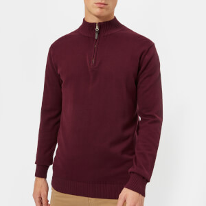 Joules Men's Hillside 1/4 Zip Knitted Jumper - Port