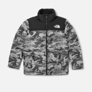 The North Face Boys' Nuptse Down Jacket - TNF Black Textured Camo Print