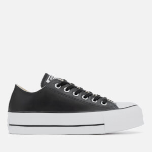 Converse Women's Chuck Taylor All Star Lift Clean Ox Leather Trainers - Black/White