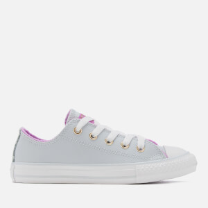 Converse Kids' Chuck Taylor All Star Ox Trainers - Pure Platinum/Fuchsia Glow