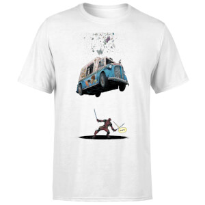 T-Shirt Homme Deadpool Glace Marvel - Blanc