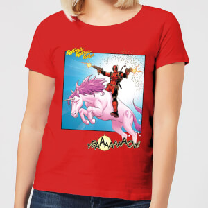 Marvel Deadpool Unicorn Battle Women's T-Shirt - Red