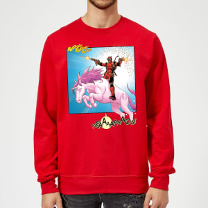 Marvel Deadpool Unicorn Battle Sweatshirt - Red