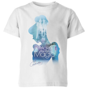 Disney Princess Filled Silhouette Cinderella Kinder T-Shirt - Weiß
