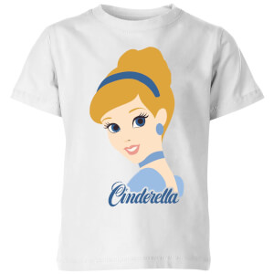 Disney Princess Colour Silhouette Cinderella Kinder T-Shirt - Weiß