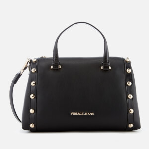 Versace Jeans Women's Studded Logo Top Handle Bag - Black