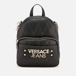 Versace Jeans Women's Quilted Logo Backpack with Chain Detail - Black