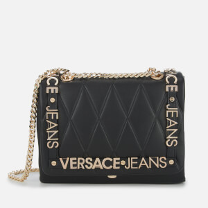 Versace Jeans Women's Quilted Logo Chain Handle Cross Body Bag - Black