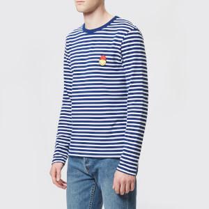 AMI Men's Smiley Patch Stripe T-Shirt - Blue/White
