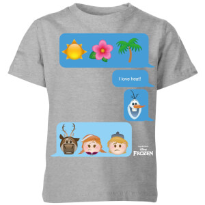 Disney Frozen I Love Heat Emoji Kids' T-Shirt - Grey