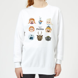 Frozen Emoji Heads Women's Sweatshirt - White