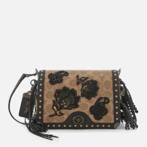 Coach 1941 Women's Exclusive Floral Signature Print Dinky 19 Cross Body Bag - Tan/Black