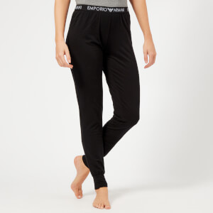 Emporio Armani Women's Iconic Logoband Pants with Cuffs - Black