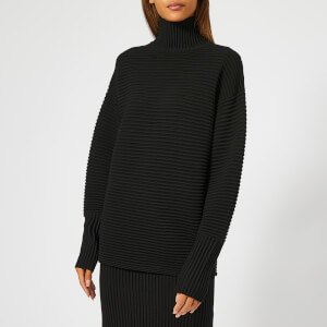 Victoria, Victoria Beckham Women's Ottoman Merino Wool Curved Sleeve Turtleneck Jumper - Black