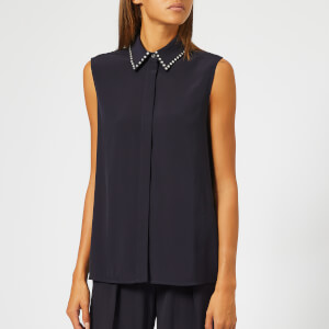 Victoria, Victoria Beckham Women's Embellished Satin Crepe Sleeveless Shirt - Midnight