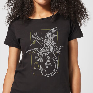 Harry Potter Dragon Line Art Women's T-Shirt - Black