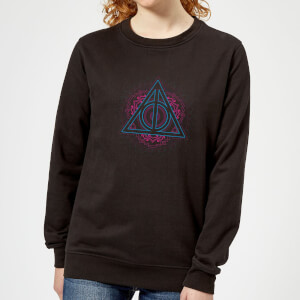 Harry Potter Neon Deathly Hallows Women's Sweatshirt - Black