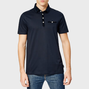 Ted Baker Men's Nervy Velvet Collar Polo Shirt - Navy