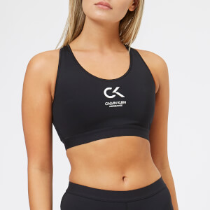 Calvin Klein Performance Women's Racerback Sports Logo Bra - CK Black